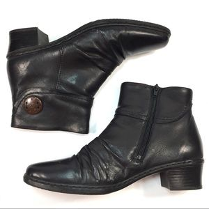 Reiker leather booties black rouged button detail